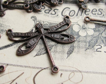 Art Nouveau dragonfly link, 25mm, 3 loops, black antiqued brass (2 black dragonfly connectors) flat dragonfly necklace link, Belle Époque