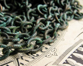"""New! Verdigris """"Degas"""" etched cable chain, 18ga, blue green patina over antiqued black brass, textured black chain, 7x6mm oval, (1 foot)"""