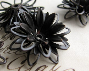 Sculpted black daisy, large three dimensional black flower bead cap, multi layered, black antiqued brass (2 bead caps) aged patina BC-SG-013