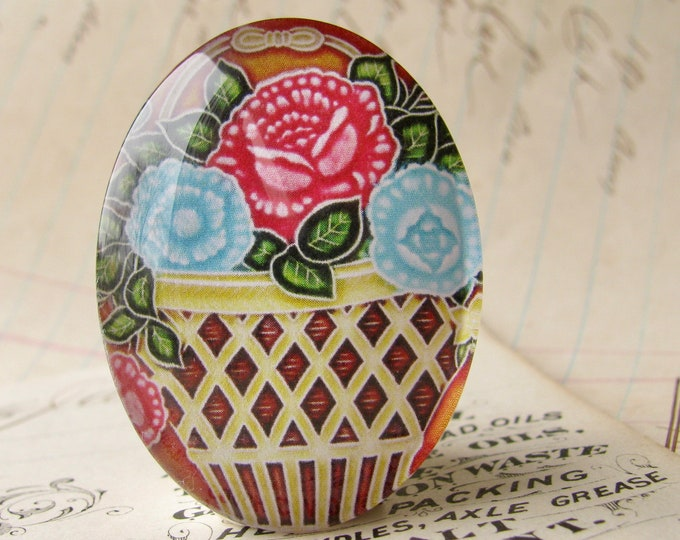 "NEW! From the ""Art Nouveau Ceramic Tiles"" series, handmade 40x30mm glass oval cabochon, Belle Époque, blue pink flower basket"