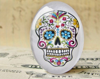 Sugar Skull, handmade 40x30mm glass oval cabochon, Mexican Day of the Dead, Halloween, Latino art, Dia de los Muertos, calavera, flowers