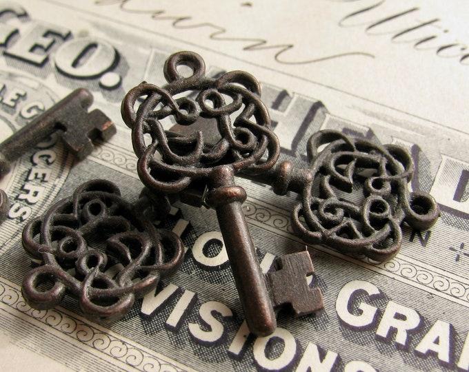Filigree jewelry box key charms, black skeleton key, black filigree pewter (4 small pendants) filigree key charm, 28mm, small skeleton key
