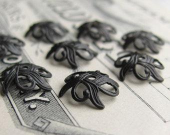 Art Nouveau Lily 9mm beadcap, black antiqued brass (12 black bead caps) oxidized brass bead cap, small lacy cap