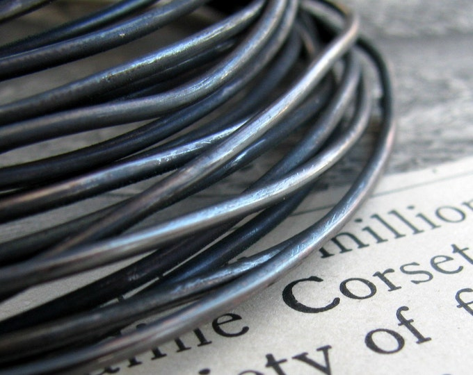 16 gauge  black hand antiqued wire coil, dead soft (5 feet) (1.53 meters) 16ga 16g dark blackened oxidized copper wire, rustic noir crafting
