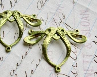 NEW! Absinthe finish, (2) green patina Art Nouveau ribbon necklace links, brass made in USA, hand finished in the Fallen Angel Brass studios