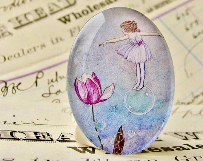 Bubble Fairy, handmade glass oval cabochon, 40x30 40x30mm 30x40mm, pink tulip, children's book illustration, Ida Rentoul Outhwaite