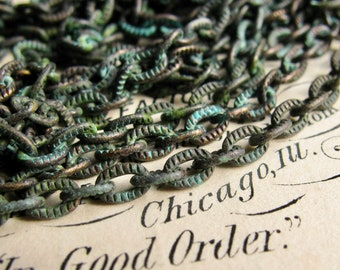 """New! Verdigris """"Caravaggio"""" textured chain, 4x3mm, rustic blue green patina over antiqued black brass, etched flat cable chain (1 foot)"""
