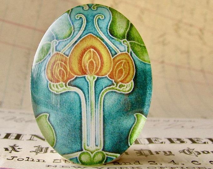 "NEW! From the ""Art Nouveau Ceramic Tiles"" series, handmade 40x30mm glass oval cabochon, Belle Époque, golden yellow flower, green stem"