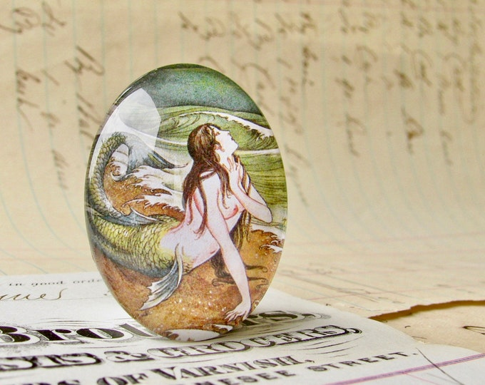 Japanese mermaid vintage illustration, 25x18mm or 40x30mm handmade glass oval cabochon, from our Magical Maidens collection, Asian art