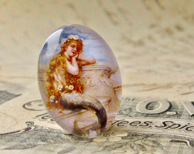 "Vintage 1930s advertisement  ""Mermaid Bath Salts""  - handmade glass oval cabochon 25x18mm 25x18 18x25mm  nautical legend"