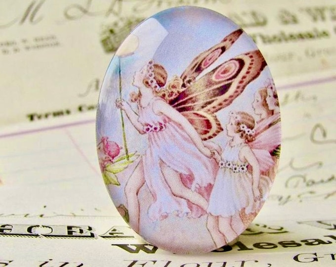 NEW! Fairy Parade, handmade glass oval cabochon, 40x30 30x40 40x30mm 30x40mm, pink, children's book illustration. Ida Rentoul Outhwaite