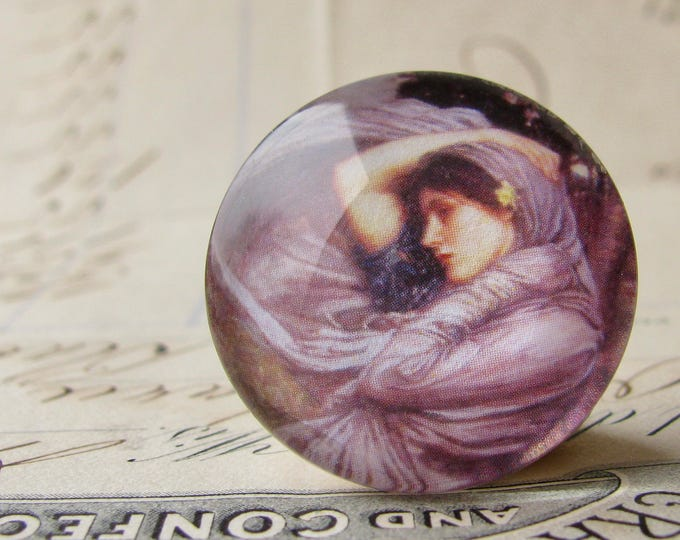 """John William Waterhouse """"Boreas"""" 25mm glass cabochon, artisan crafted, Art History collection, purple, 1 inch circle, bottle cap size"""