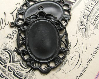 25x18mm closed back brass setting for oval cameos, cabochons - black antiqued brass (2 frames) 18x25mm 25x18 25 x 18 25mm 18mm CF-SV-009
