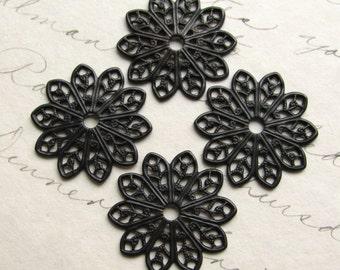 19mm sunburst round flat filigree - antiqued black brass - (4 small medallions) aged black patina, pierced, center hole, blackened flower