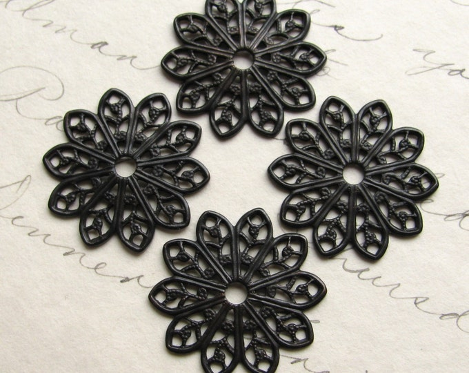 19mm sunburst round flat filigree - antiqued black brass - (4 small medallions) aged black patina, pierced, center hole, blackened flower