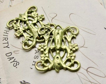 Absinthe finish, Victorian style blooming trellis link (2 connectors) Art Nouveau floral, flowers, fancy finish, green fairy