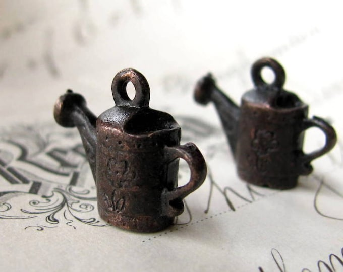 Watering can charm from Bad Girl Castings, 15mm, antiqued dark pewter (2 charms) water, backyard life, gardening charm, garden CH-SC-034