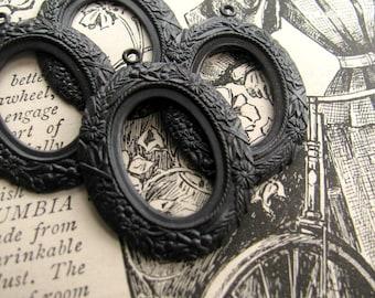18x13mm Art Nouveau oval cameo frames, antiqued black brass, open back (4 frames) aged dark patina 13x18mm 18 13 mm 18x13 13x18
