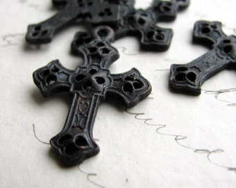 Byzantine cross pendant from Bad Girl Castings (4 small pendants) 27mm solid antiqued black pewter, sideways option, oxidized CH-SC-023