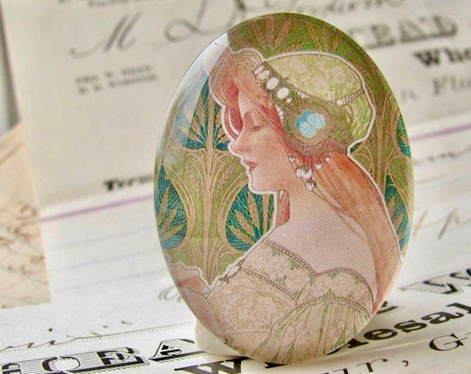 Art Nouveau vintage poster art, handmade 40x30mm glass oval cabochon, Henri Privat Livemont, commercial illustration, green advert