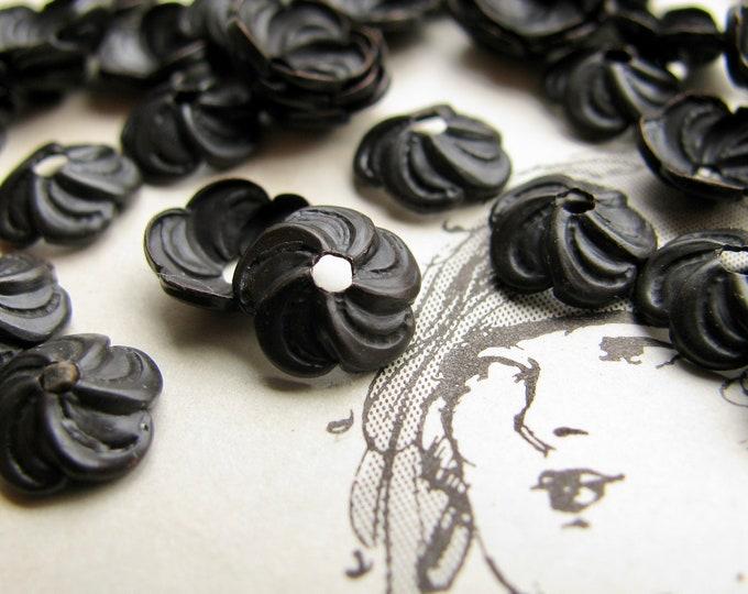 8mm Sakura flower bead cap (20 black bead caps) cherry blossom, made in the USA, lead nickel free, brass bead cap BC-UT-021