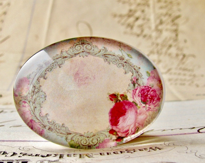 Pink Victorian roses in a frame, handmade glass cabochon, 40x30mm or 25x18mm, sideways oval, horizontal image, Fabulous Florals collection