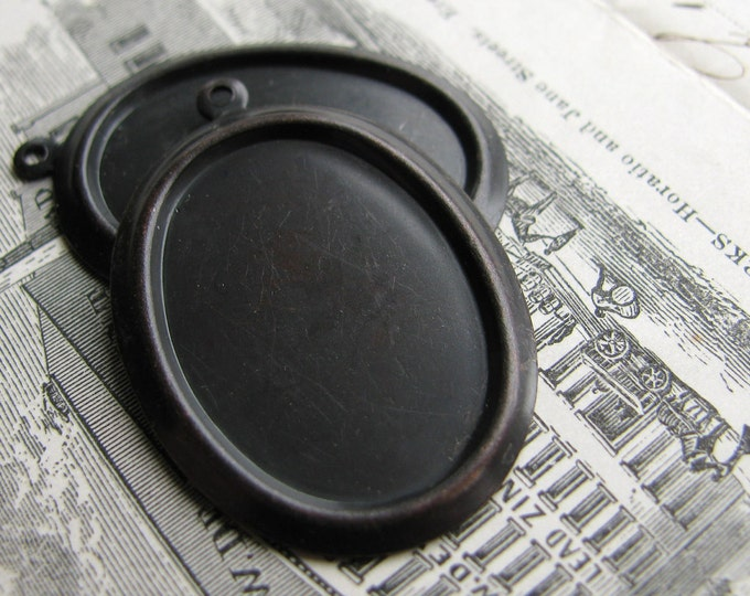 25x18mm cameo setting, black antiqued brass, plain oval frame pendant (2 cabochon bases) 25x18 mm 18x25mm 25mm 18mm, aged black patina