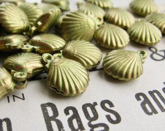 Absinthe finish, green patina, tiny seashell charms (6 clam shell charms) seaside, ocean, nautical, boating, water, beach, sea shell