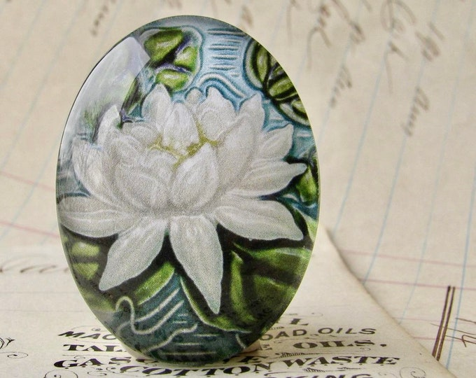 """NEW! From the """"Art Nouveau Ceramic Tiles"""" series, handmade 40x30mm glass oval cabochon, Belle Époque, white lily flower, green stem"""