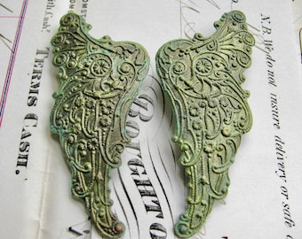 """New! Absinthe finish,""""Archangel"""" antiqued brass angel wing (2 green patina angel wings) pair of Art Nouveau wings, fancy finish, green fairy"""