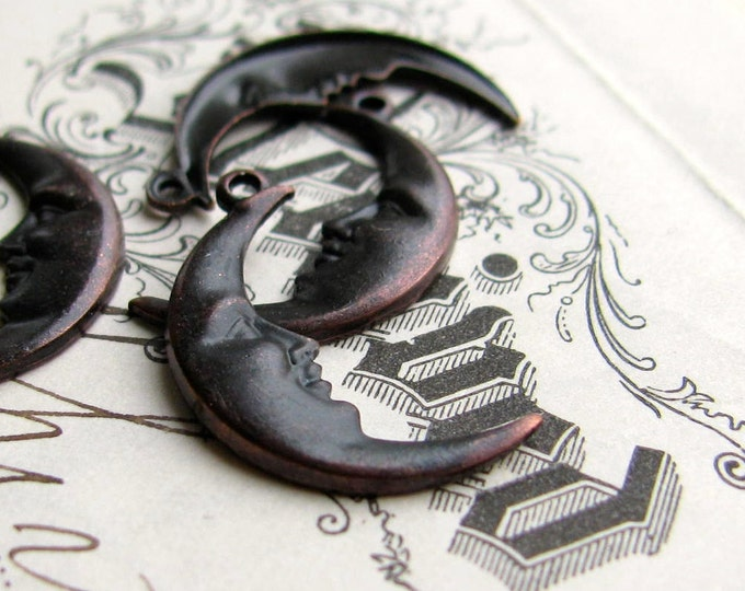 Crescent Moon charms, 19mm long, black antiqued brass (4 moon charms) 2 left moons, 2 right moons, face charm, man in the moon