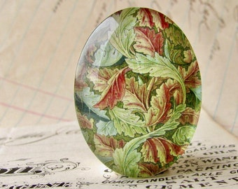 NEW! William Morris collection - green vines, 40x30mm or 25x18mm glass oval cabochon, wallpaper print, handmade in this shop