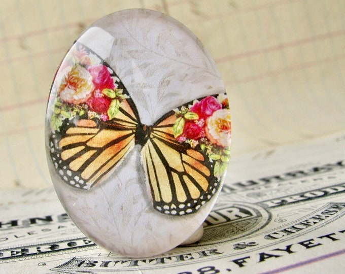 Roses on a Monarch butterfly, William Morris wallpaper background, handmade glass oval cabochon, 40x30mm, garden, rebirth, renewal