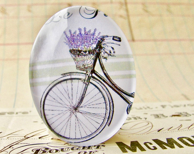 Lavender in a bicycle basket, herbs from our Vintage Kitchen collection of handmade glass oval cabochons, 40x30mm, cooking, purple flower