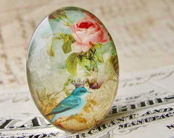 Aqua songbird with crown, Beautiful Birds collection, handmade glass cabochon, 40x30mm or 25x18mm oval cabochon, pink roses, blue bird