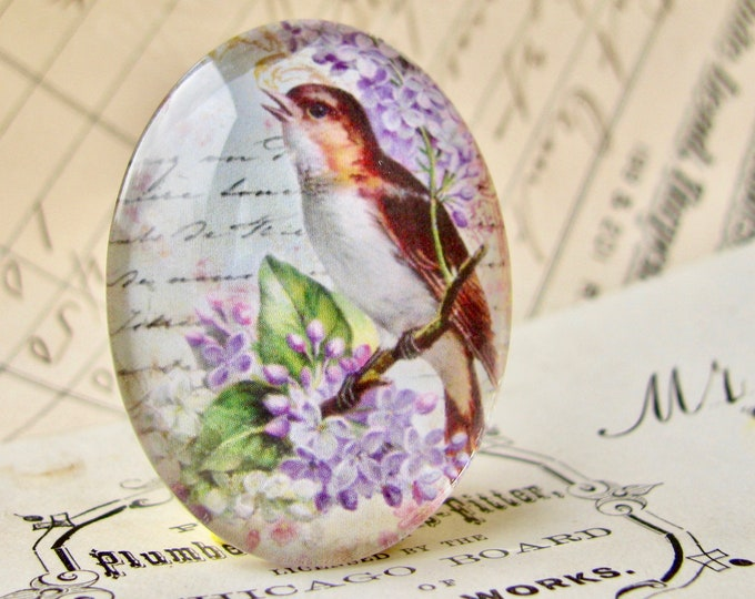 Songbird with lilacs, from our Beautiful Birds collection of handmade glass cabochons, 40x30mm, purple flowers, vintage script background