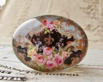 Pink Victorian roses on black, handmade glass cabochon, 40x30mm or 25x18mm, sideways oval, horizontal image, Fabulous Florals collection