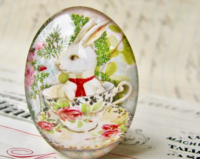 Bunny in a teacup, glass oval cabochon, 40x30mm or 25x18mm, tea party, white rabbit, pink roses, tea time, green spring picnic,