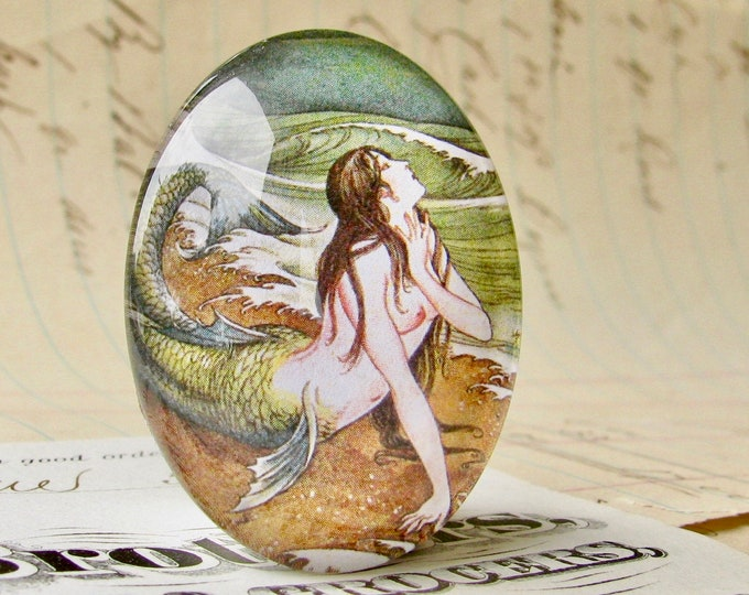 Japanese mermaid vintage illustration, 40x30mm or 25x18mm handmade glass oval cabochon, green brown, Magical Maidens collection, Asian art