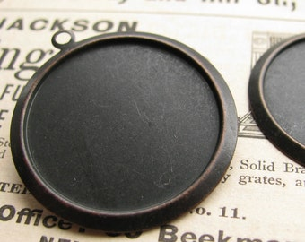 25mm round frame, black antiqued brass (4 brass pendant trays) flat back setting, 25mm brass frame for cabochons, use with a bezel