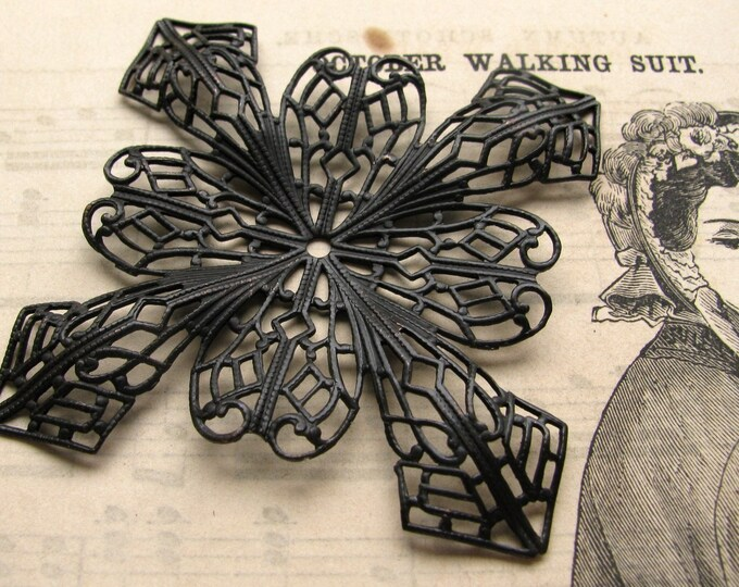 Giant Snowflake cabochon wrap, square filigree, 51mm, black antiqued brass, bendable filigree wraps, Fallen Angel Brass, filigree findings