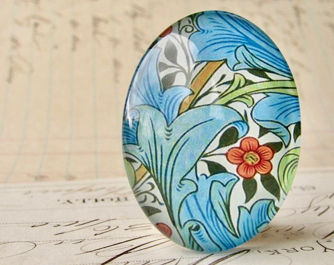 NEW! William Morris collection - blue foliage, 40x30mm glass oval cabochon, wallpaper print, handmade in this shop, 40x30, Art Nouveau
