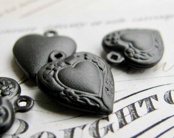 Etched heart charm, black antiqued brass (6 charms) light weight brass charm, 13mm, black charm, black brass, small, delicate, made in USA