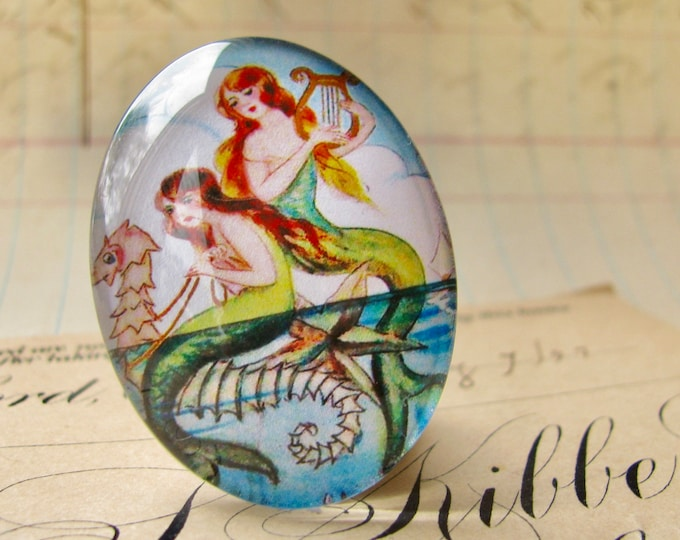Mermaids on a Seahorse illustration, 25x18mm or 40x30mm handmade glass oval cabochon, orange, yellow, aqua, vintage drawing