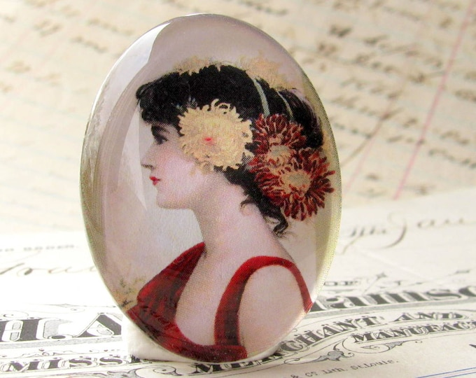 Flowers in her Hair, 40x30 40x30mm 30x40mm 40 30 mm handmade glass oval cabochon, woman profile, Marsala red dress, black, yellow