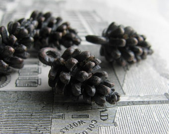Little black pine cone charms from Bad Girl Castings, 18mm, antiqued dark pewter  (4 pinecones) aged, oxidized patina, autumn, fall, forest