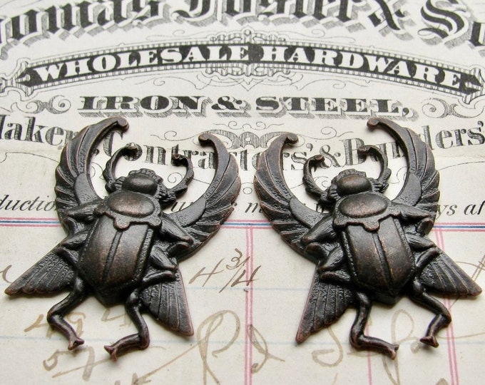 NEW! Egyptian scarab beetle pair with wings, black antiqued brass, 35mm, black patina, dark Art Deco, large, noir patina, ancient history