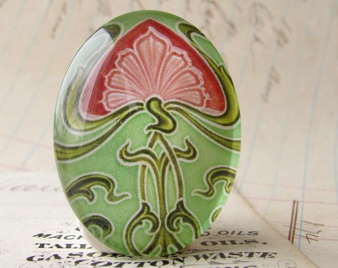 "NEW! From the ""Art Nouveau Ceramic Tiles"" series, handmade 40x30mm glass oval cabochon, Belle Époque, pink flower, green stem"