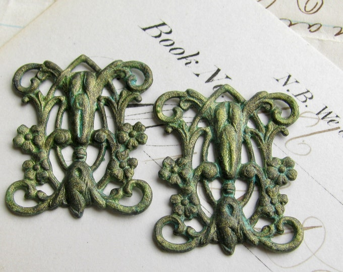 New! Absinthe finish, Victorian style blooming trellis link (2 connectors) Art Nouveau floral, flowers, fancy finish, green fairy
