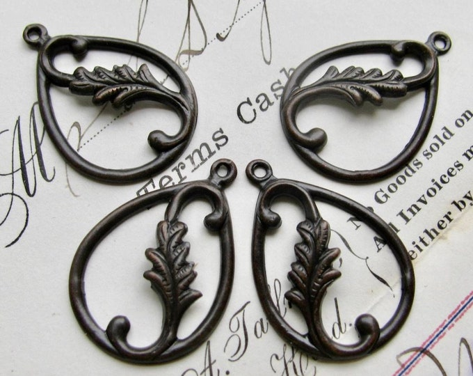 Tear drop leaf charms, opposites for earrings, black antiqued brass, 27mm long (4 teardrop charms) black aged patina